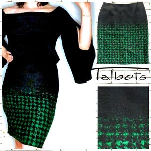 Talbots Houndstooth Ombre Pencil Skirt.